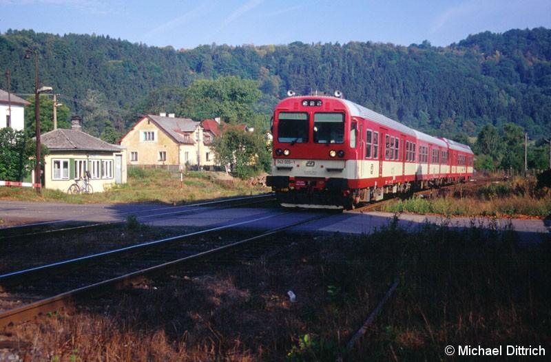 Bild: In Vojkovice n/Ohri trafen wir auf den 943 009, der als Os 7004 vorbei kam.