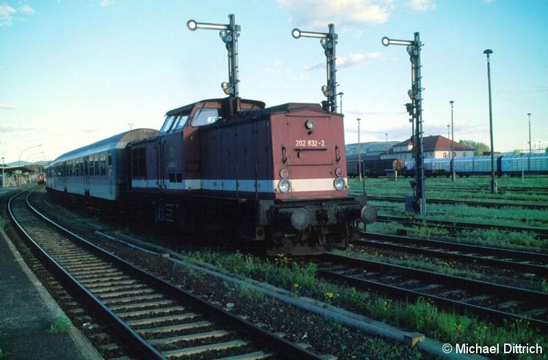 Bild: Die 202 832 durfte sich in Bautzen ausruhen.