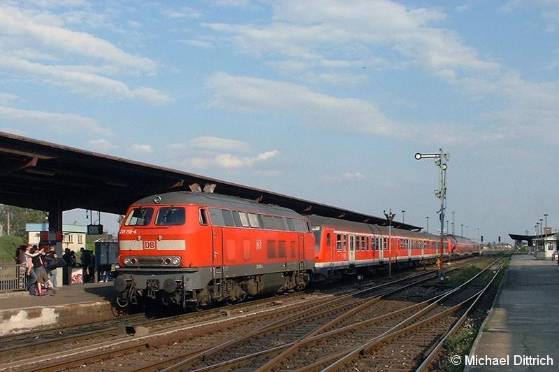 Bild: 218 158 mit einer Regionalbahn in Halberstadt.