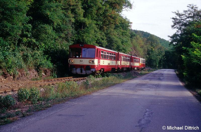 Bild: Diese vierteilige Brotbüchseneinheit kam bei Praha-Zbraslav durch.  Angeführt von 810 305 als Os 19030.