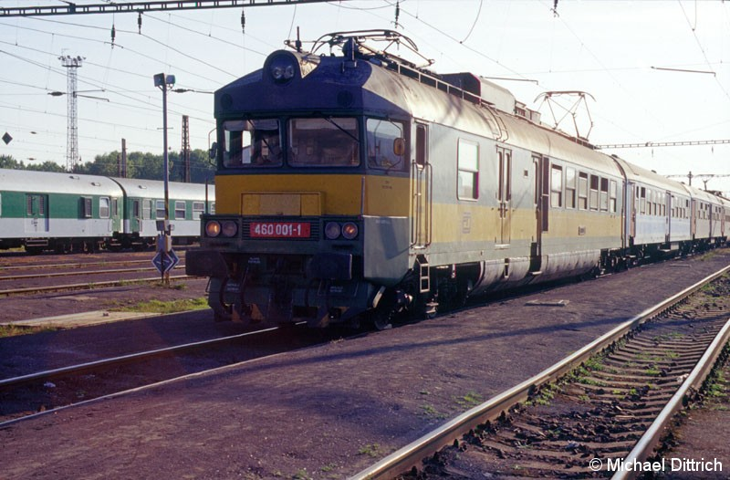 Bild: Auf der anderen Seite des Zuges (siehe Bild 460 021), der grüne 460 001.  Leider war hier nur eine Gegenlichtaufnahme möglich.