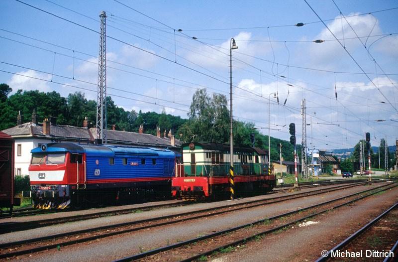 Bild: Die Bardotka 749 265 stand mit der 771 136 im Bahnhof Zabreh na Morave.
