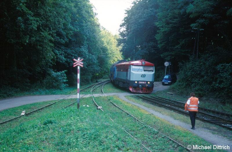 Bild: Hier trifft auch der Gegenzug mit der 749 146 ein.  Die Eisenbahnerin ist auf dem Weg, die Weiche zu stellen.