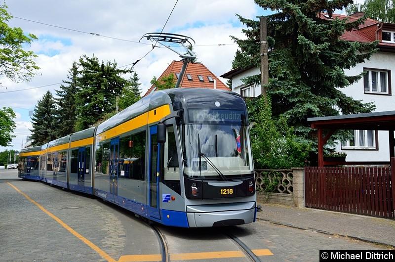Bild: 1218 als Linie 11 in der Endstelle Markkleeberg-Ost.
