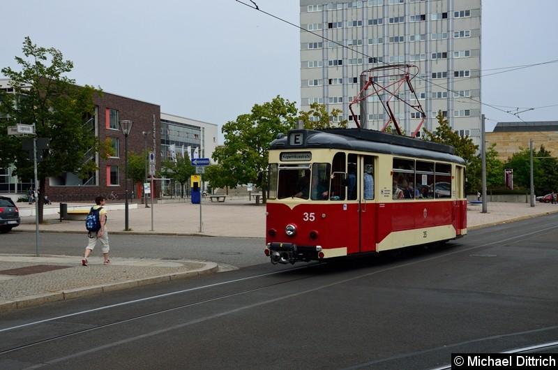 Bild: Wagen 35 als Sonderfahrt zur Kopernikusstr. in der Logenstraße.