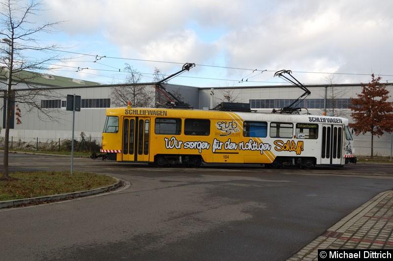 Bild: Arbeitswagen 104 beim Schmieren der Fahrleitung in der Wendeschleife Untermhaus.