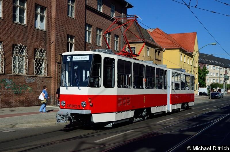Bild: 219 282-8 erreicht nach einer kleinen Sonderfahrt den Betriebshof Köpenick.
