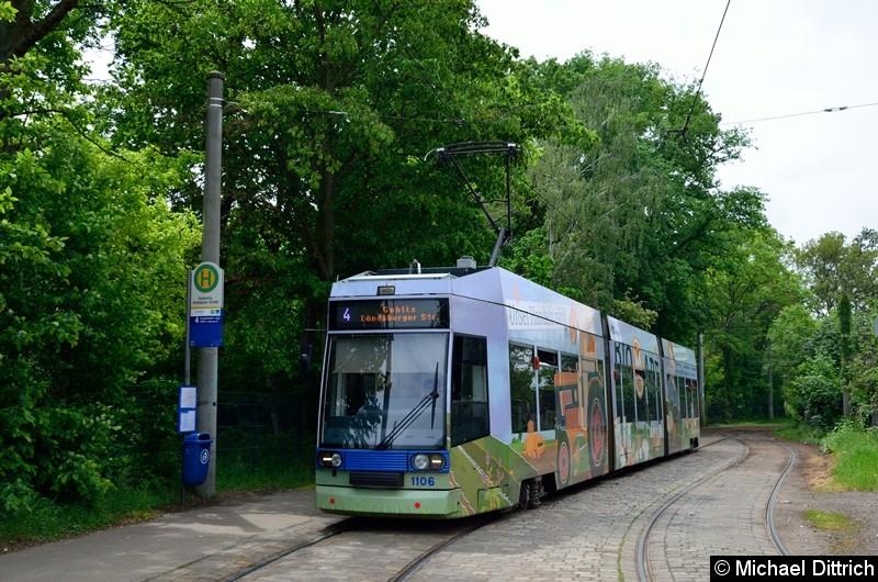 Bild: 1106 als Linie 4 an der Haltestelle Stötteritz, Holzhäuser Str.