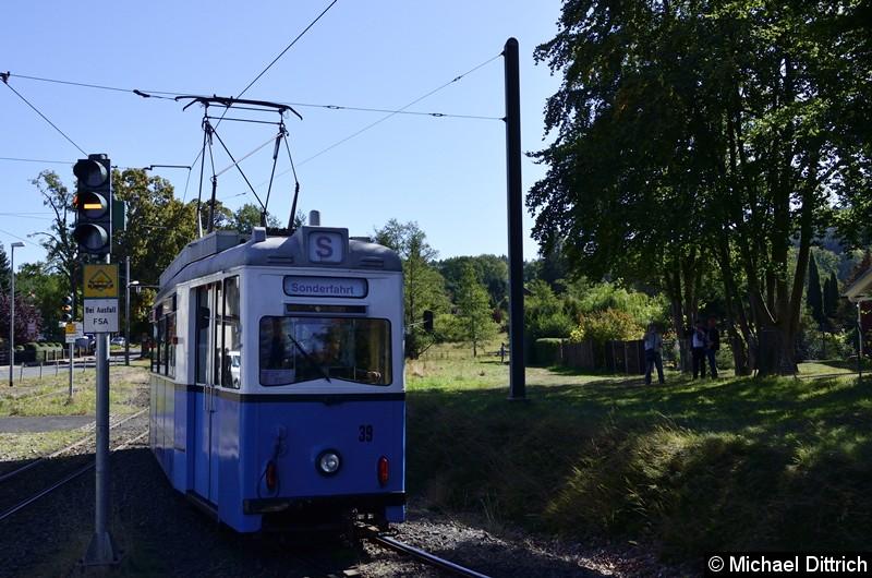 Bild: Als Sonderfahrt kam der Wagen 39 hier an der Endstelle Bad Tabarz an.