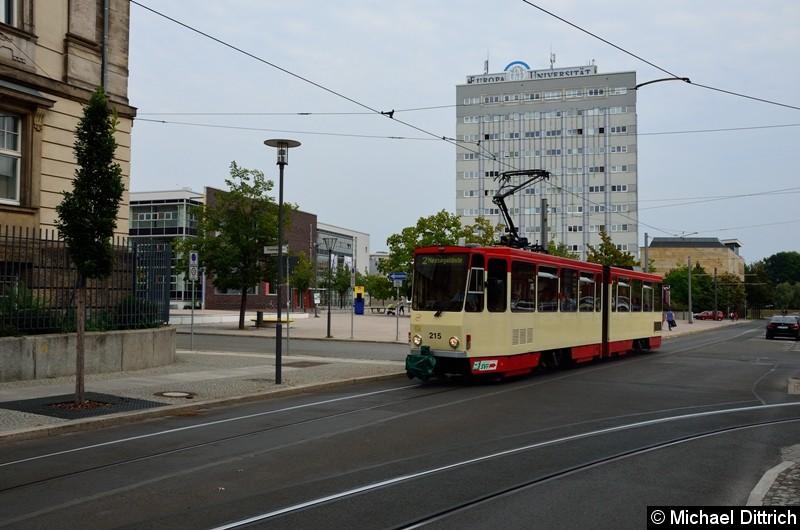 Bild: Wagen 215 als Linie 2 zum Messegelände in der Logenstraße.