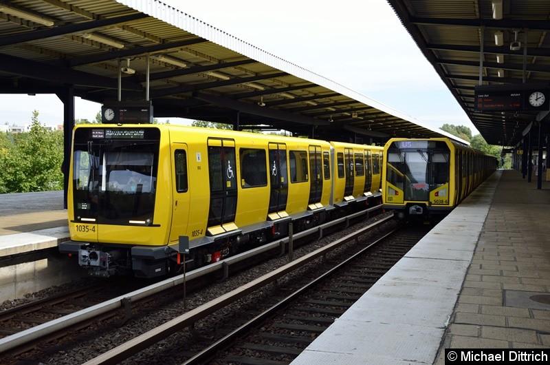 Bild: Links 1035 + 1034 (Ik für den Großprofil) und 5038 (H-Zug) in Wuhletal.