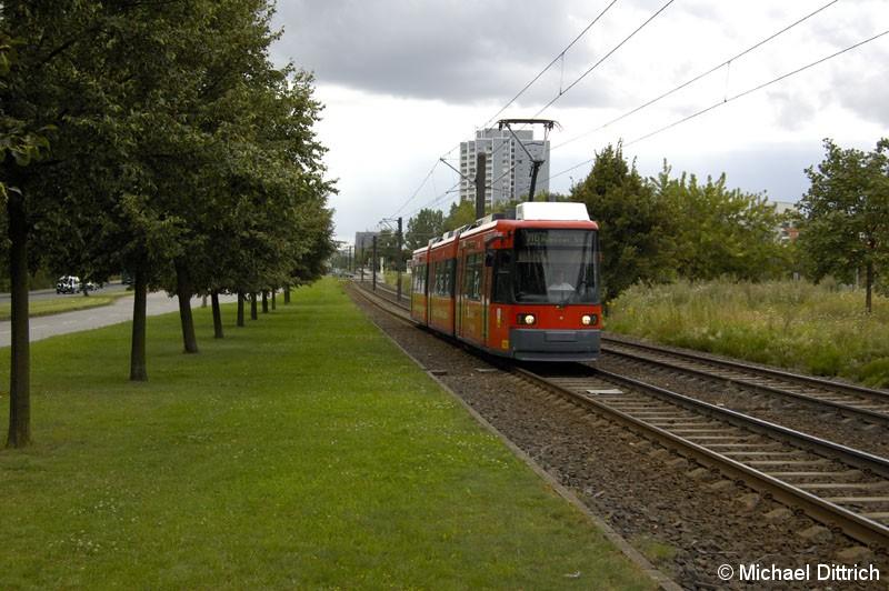 Bild: 1065 als Linie M6 hinter der Haltestelle Marzahner Prommenade.