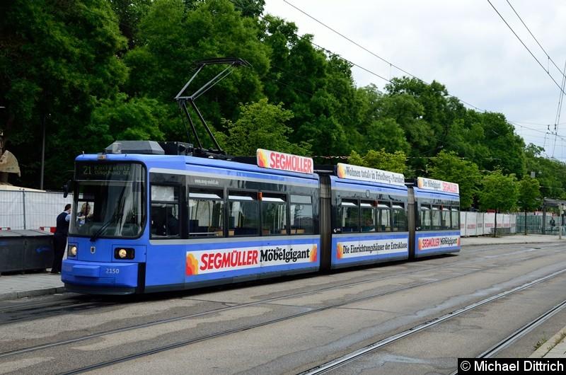 Bild: 2150 als Linie 21 in der Endstelle U Westfriedhof.