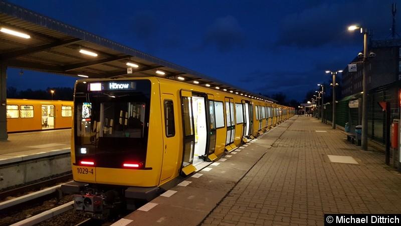 Bild: 1029 als Linie U5 in Hönow kurz nach der Ankunft.