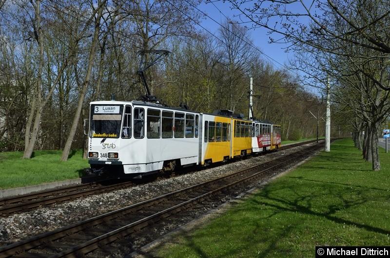 Bild: 348 + 314 erreichen als Linie 3 die Endstelle Lusan, Zeulsdorf.