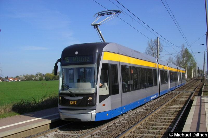 Bild: 1217 als Linie 15 an der Haltestelle Rosegger Straße.