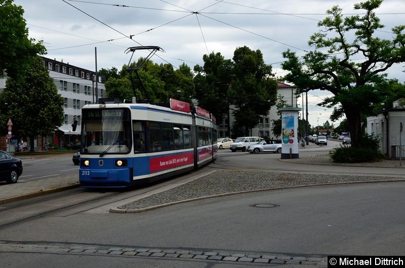Bild: 2113 auf dem Romanplatz. An dieser Stelle wechselte der Wagen von der Linie 12 (vom Scheidtplatz)  zur Linie 16 (Richtung St. Emmeran).