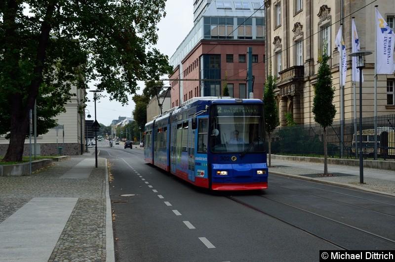 Bild: Wagen 302 als Linie 2 in der Logenstr. auf dem Weg zur Europa-Universität.