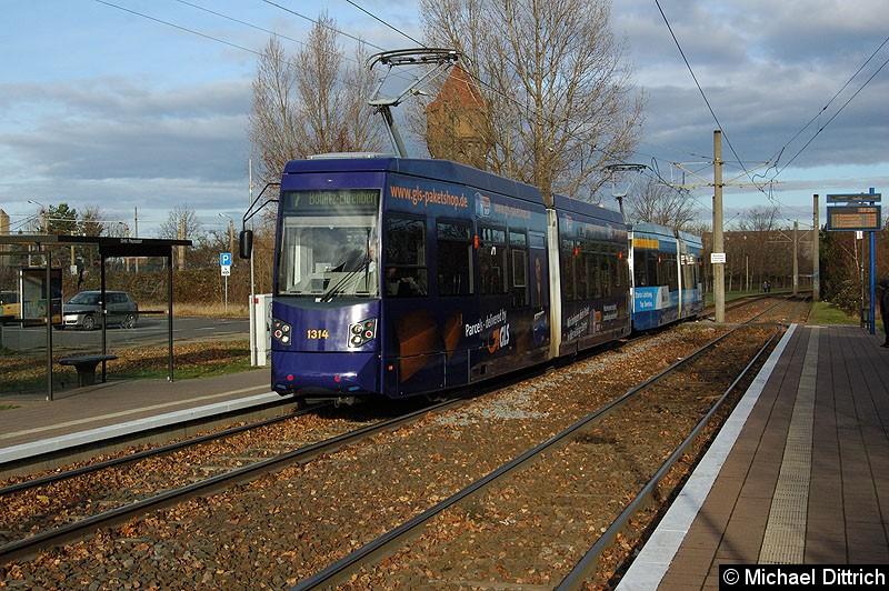 Bild: 1314 als Linie 7 in der Haltestelle Paunsdorf Strbf.