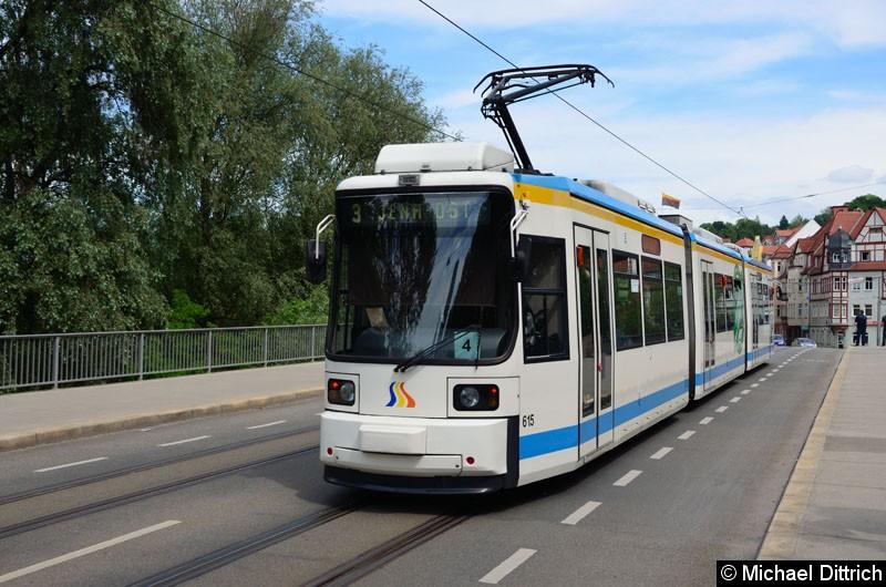 Bild: Wagen 615 als Linie 3 zwischen Haltestellen Steinweg und Geschwister-Scholl-Str.