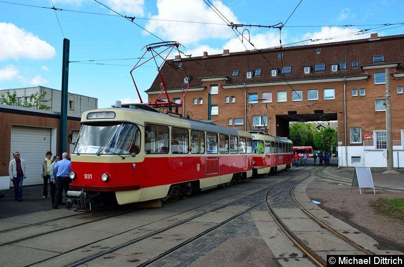 Bild: 931 + 901 als Linie 9E im Betriebshof Freiimfelder Str.