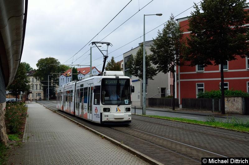 Bild: 618 als Linie 2 kurz vor der Haltestelle Paradiesbahnhof West.