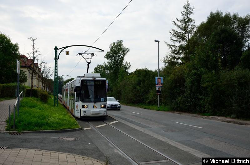 Bild: 618 als Linie 2 kurz vor der Haltestelle Jena Ost.