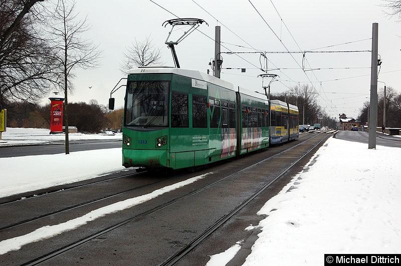 Bild: 1313 + 1323 als Linie 15 kurz vor der Haltestelle Sportforum.