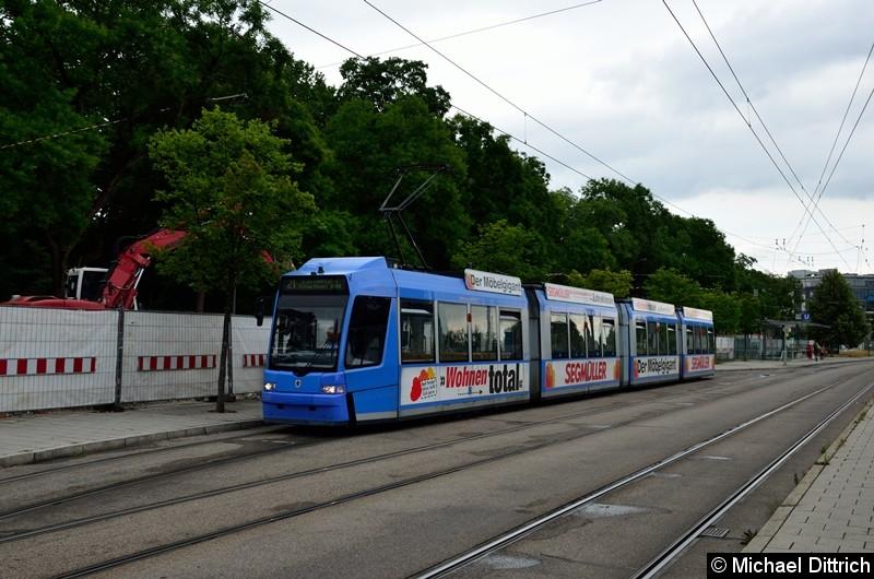 Bild: 2202 als Linie 21 in der Endstelle U Westfriedhof.