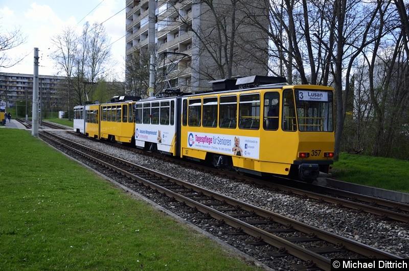 Bild: 350 + 357 an der Endstelle Lusan, Zeulsdorf.