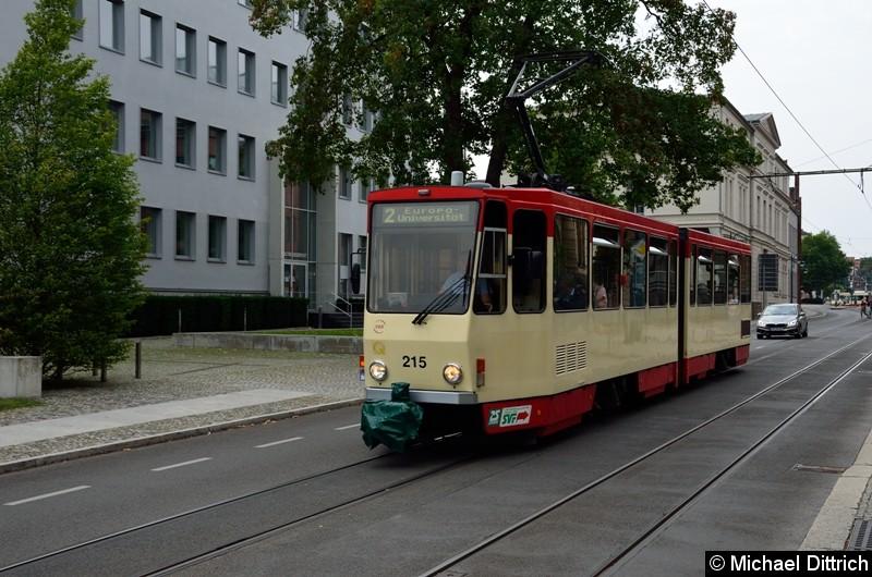 Bild: Wagen 215 als Linie 2 in der Logenstr. auf dem Weg zur Europa-Universität.