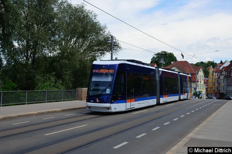 Bild: Wagen 702 als Linie 3 zwischen Haltestellen Steinweg und Geschwister-Scholl-Str.